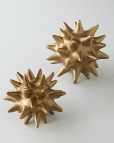 """Dwell Studios by Global Views Golden Urchin Sculpture •Small, 5.5""""Dia. •Large, 7""""Dia."""