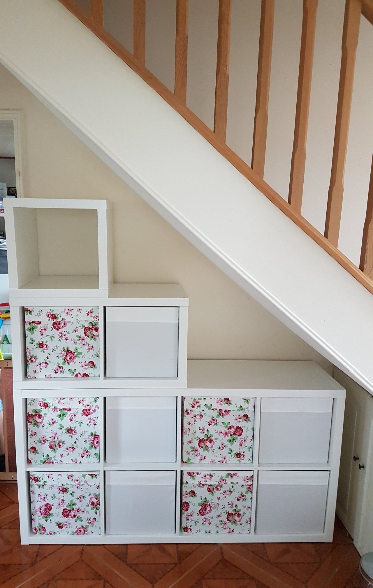 under stairs storage idea 3 x kallax ikea units stacked on top of one another hall in 2019. Black Bedroom Furniture Sets. Home Design Ideas