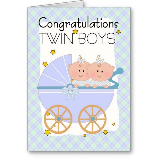 twins  congratulations twin boys in a pram greeting card  new, Baby shower invitation