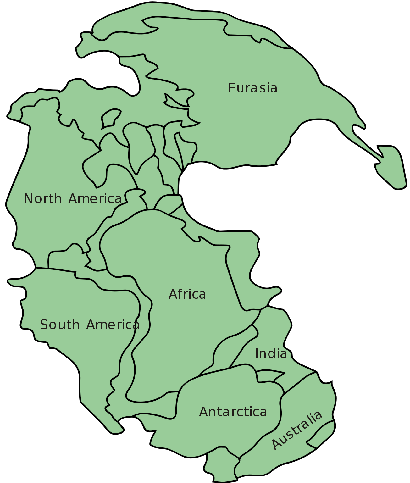 Pangea Map With Names Of The Continents
