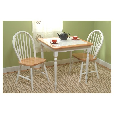 Chester Tile Top Dining Set White Natural 3 Piece Tms 3 Piece Dining Set Dining Room Sets Country Cottage Kitchen
