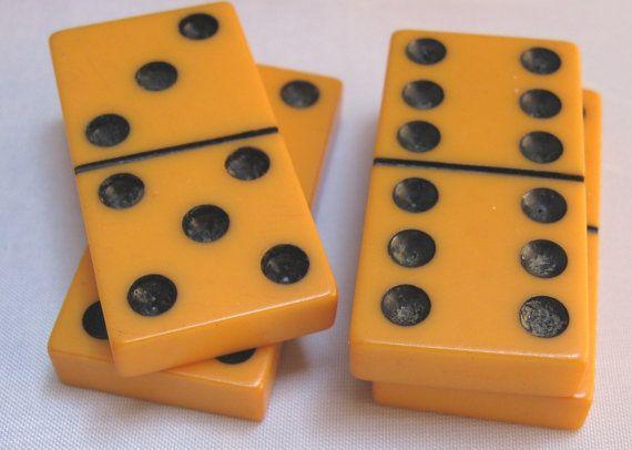 Vintage Bakelite Butterscotch Orange Dominoes