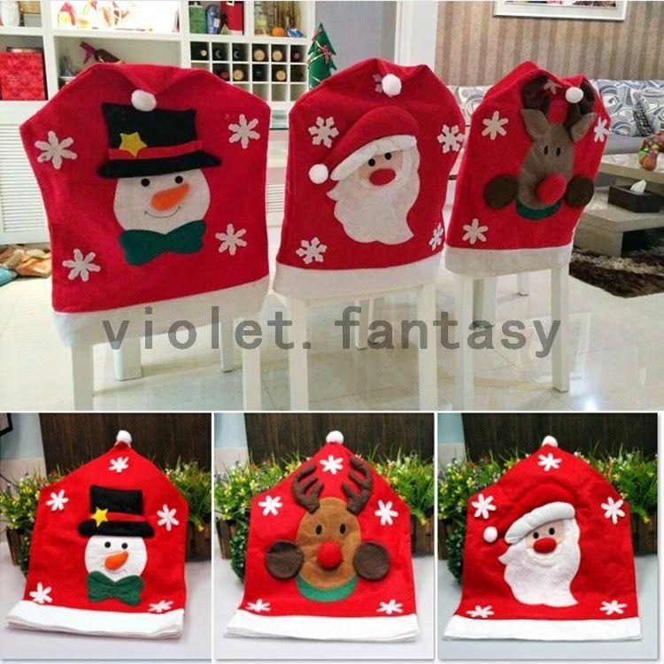 Holy Christmas Home Decor Chair Cover Snowman Santa
