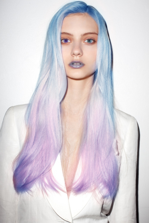 Blue and pink pastel hair