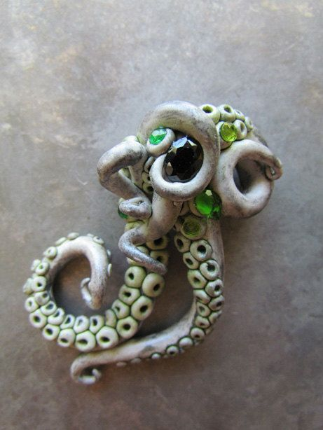Squid pin tentacles with green and black gems steampunk broach