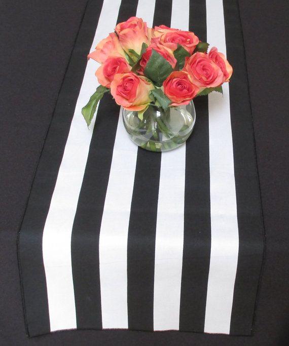 Black And White Stripe Table Runner Black Edge By LaruesLine