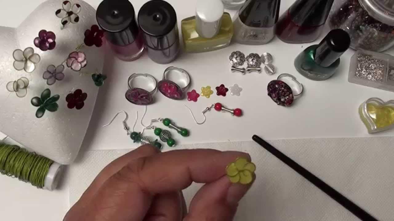 DIY Basteln mit Nagellack...Ring mit Blume aus Draht u. Nagellack ...