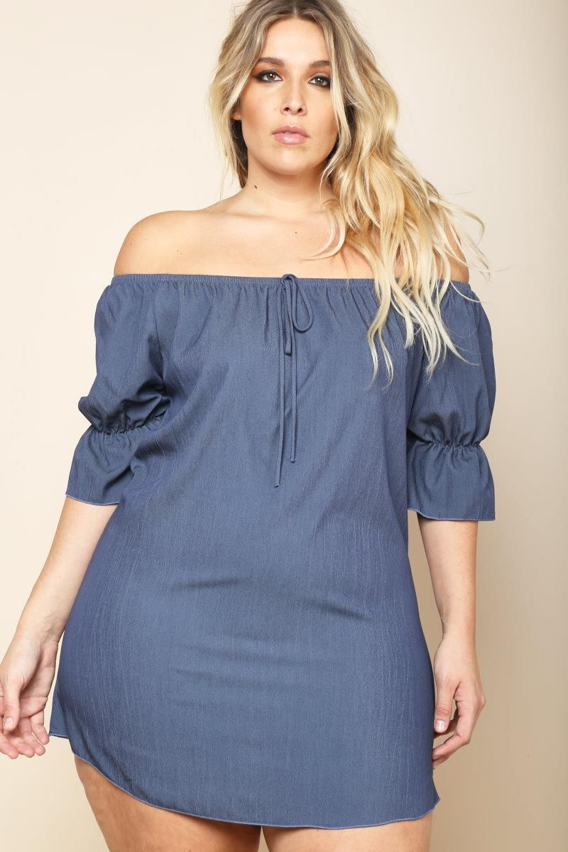 Plus Size Off Shoulder Mini Chambray Dress | clothes in 2019 ...