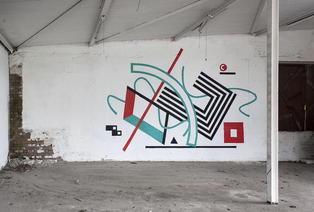Tokae Wall Graffiti Art Geometric Minimal White Abstract Geometric Art Geometric Art Graffiti