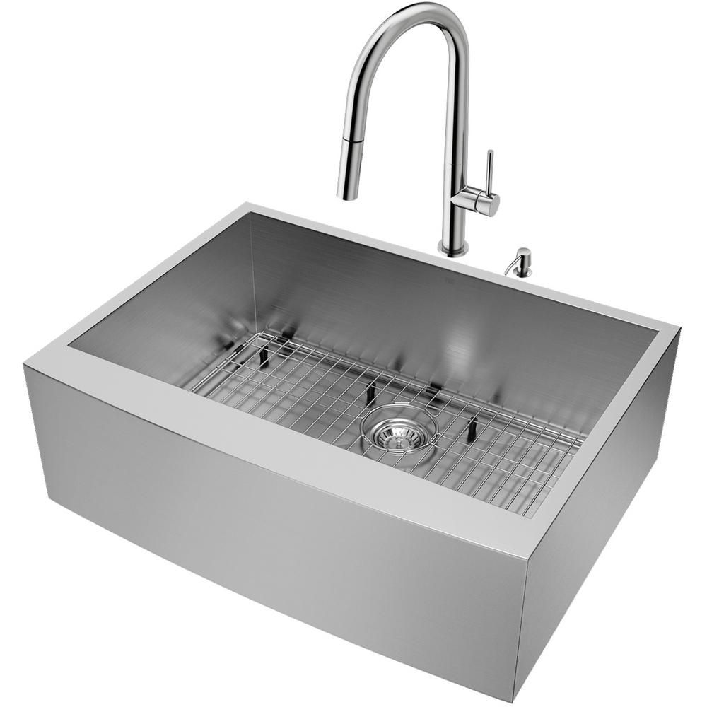 Vigo All In One 30 In Camden Stainless Steel Farmhouse Single Bowl Kitchen Sink Set Stainless Steel Faucet Grid Strainer Vg15944 Stainless Steel Faucets Double Bowl Kitchen Sink Stainless Steel Kitchen