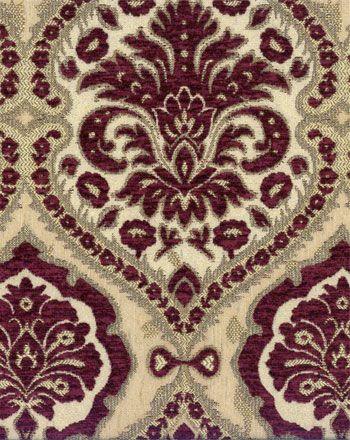 Drapery Upholstery Fabric Traditional Vine Design on Short Pile Chenille Black