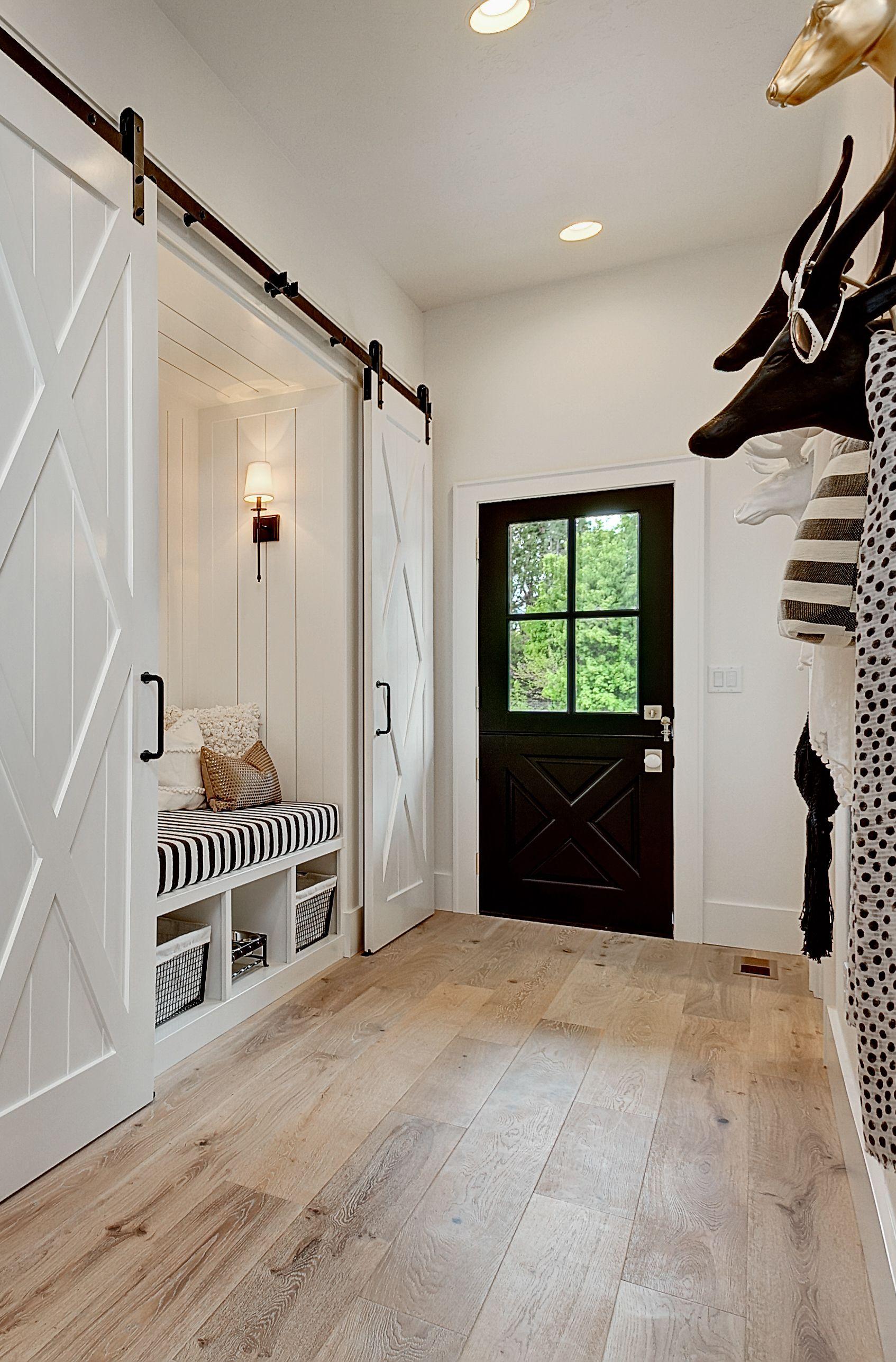 Modern Farmhouse Hallway Heartland Home Engineered Wood Floors Double Barn Doors Mudroom Design