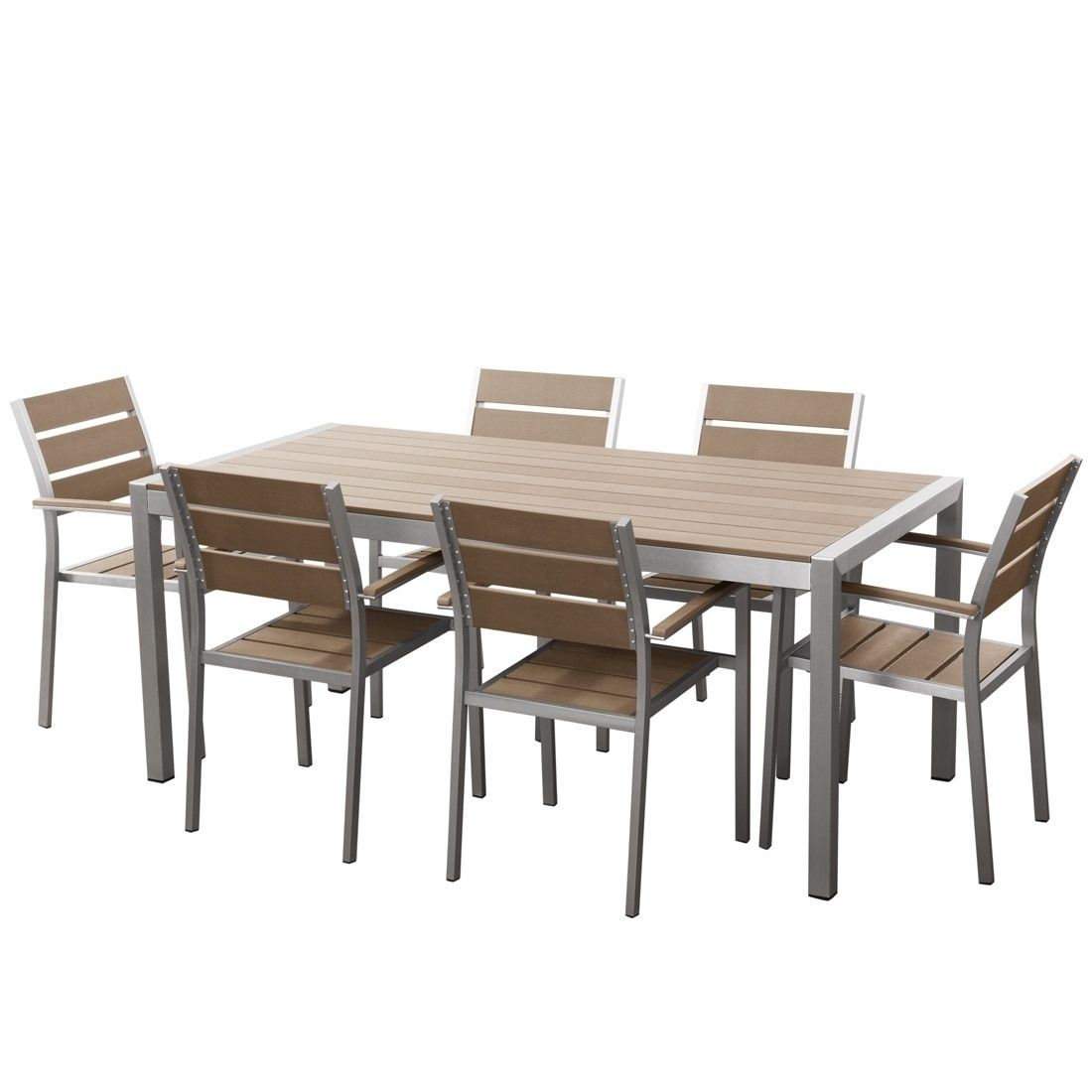 Velago Aluminum And Faux Wood Outdoor Dining Set 6 Chairs Vittore Brown Vernio Size 7 Piece Sets Patio Furniture