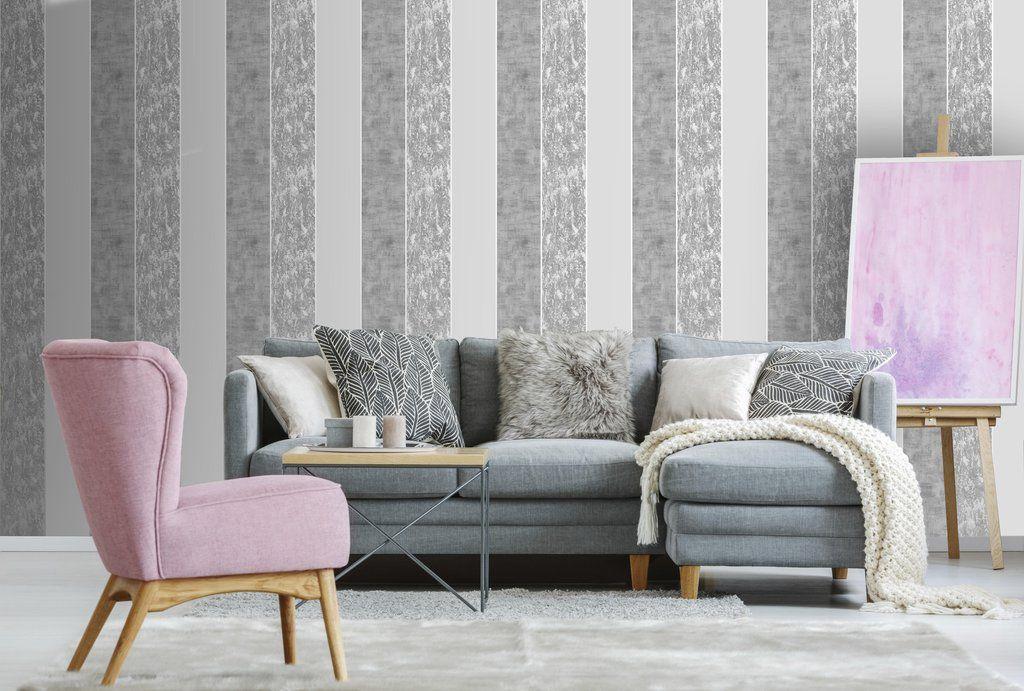 milan stripe grey/silver  wallpaper living room room