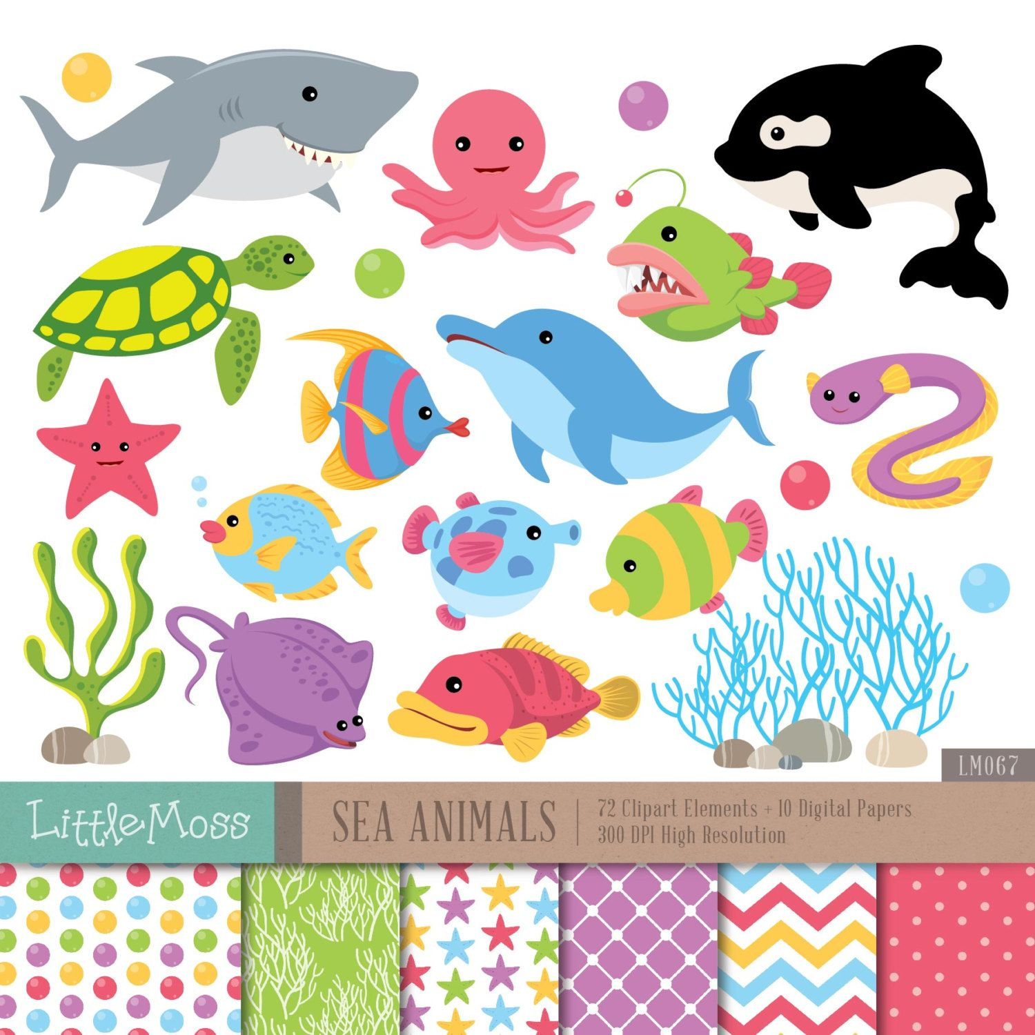 Sea animals digital clipart and papers under the sea clipart whale