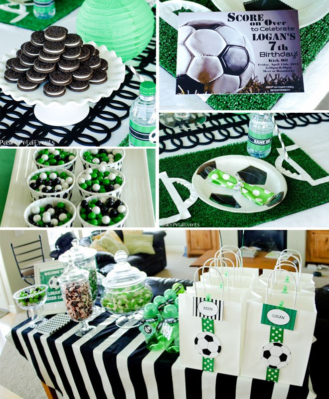 Soccer Birthday Party Green Black White 2 Soccer Birthday Parties Soccer Birthday Soccer Theme Parties