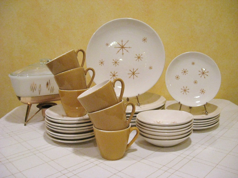 Vintage Star Glow Dinnerware Set Service for 6 Royal China Mid-Century Modern Atomic Dinnerware 1960u0027s & Vintage Star Glow Dinnerware Set Service for 6 Royal China Mid ...