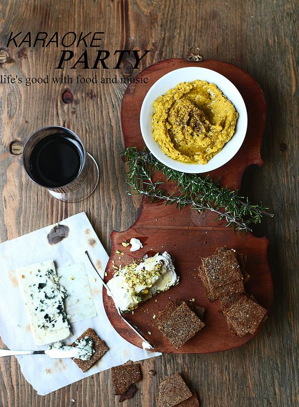 Golden Beet Hummus + Spicy Buckwheat & Flax Seed Crackers