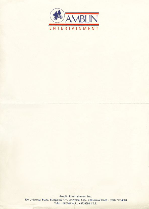 Amblin Entertainment, 1995 Submitted by Ellen The 1995 - business letterheads