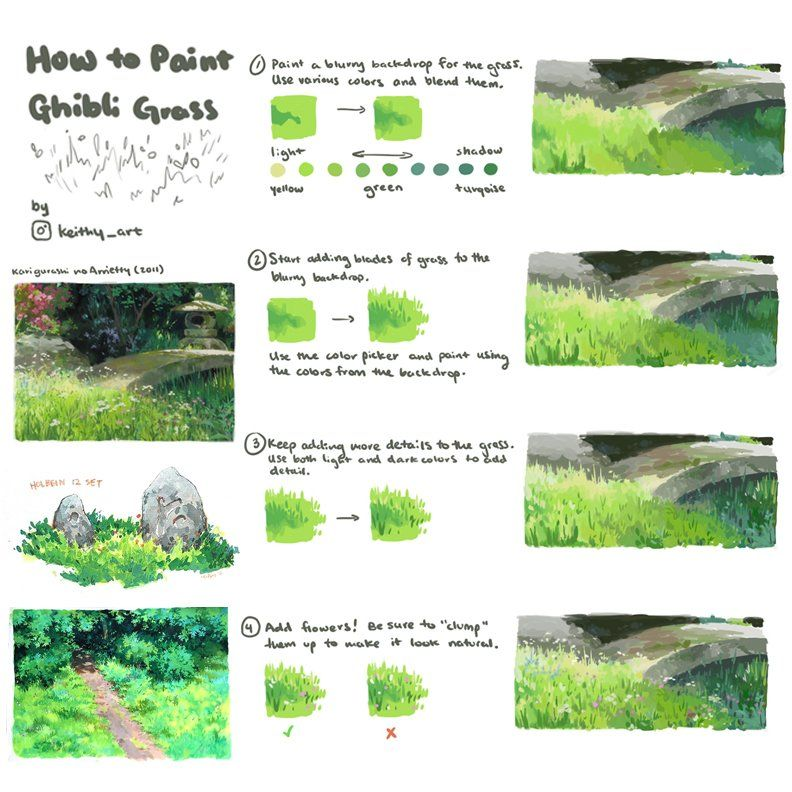 Right, as we missed #SkillUpSunday while we were away, today is #SkillUpTuesday! Our first feature tutorial is on PAINTING GRASS in the GHIBLI STYLE by the very excellent STARFUR12 on Instagram (No Twitter account I could find)! #gamedev #animationdev #conceptart #digitalpaintingpic.twitter.com/blJRDAa5xj