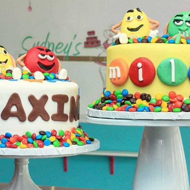 Twin M&M Cakes  #SydneysSweets #fondant #mandms #twin #candy #Chocolate #fondantcakes #customcake #twins #instacake
