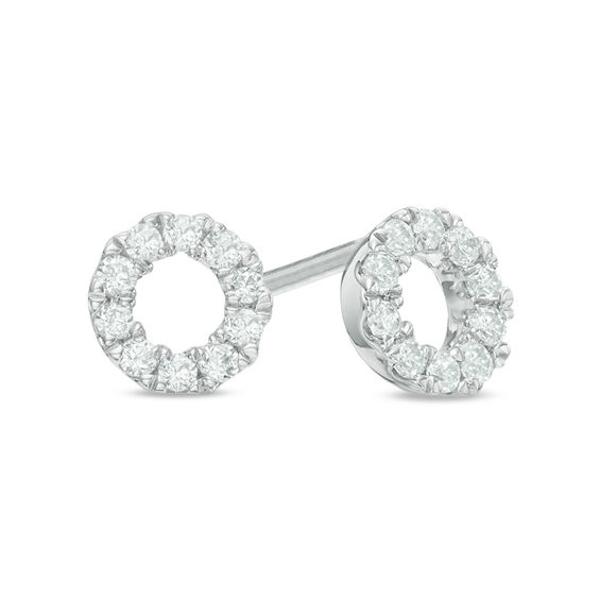 1 4 Ct T W Diamond Circle Stud Earrings In 10k White Gold Stud Earrings White Gold Peoples Jewellers