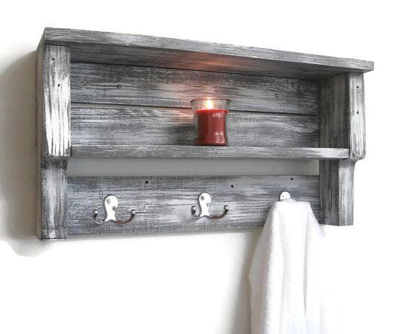 White Shabby Chic Bathroom Shelves With Hooks Chunky Bathroom Etsy Shabby Chic Bathroom Pallet Wood Shelves Chic Bathrooms