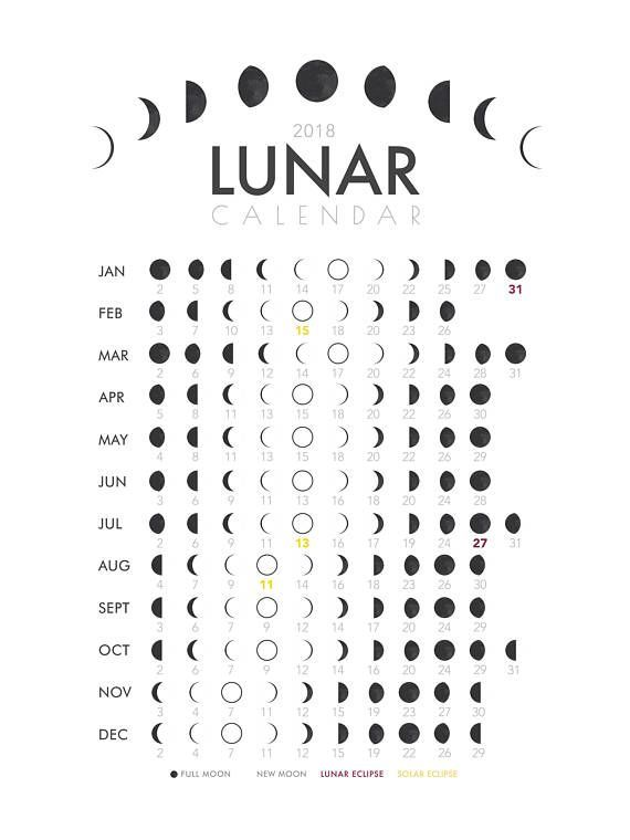 Image result for 2018 lunar calendar | ME,MYSELF AND I | Pinterest