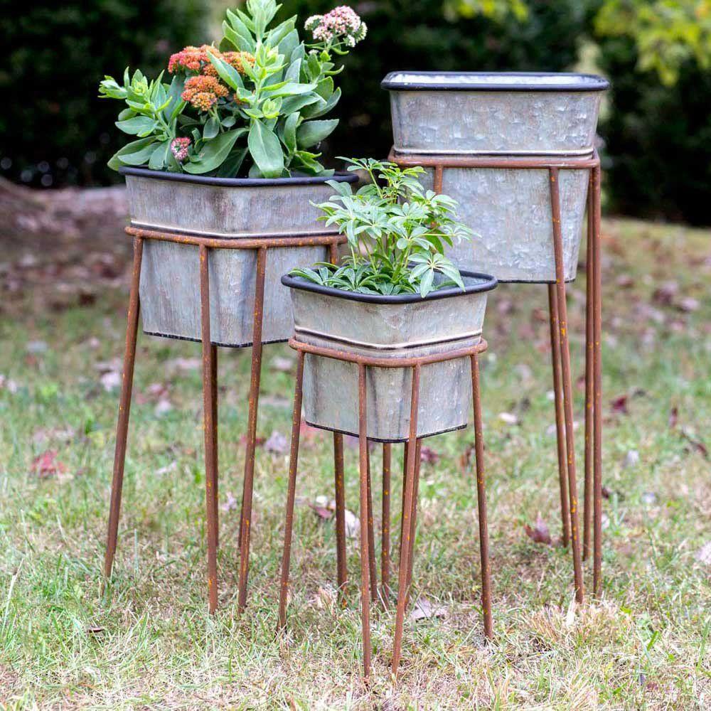 Planter Box Storage Tub On Stand Set Of 3 Raised Garden Metal Plant Stand Garden Set