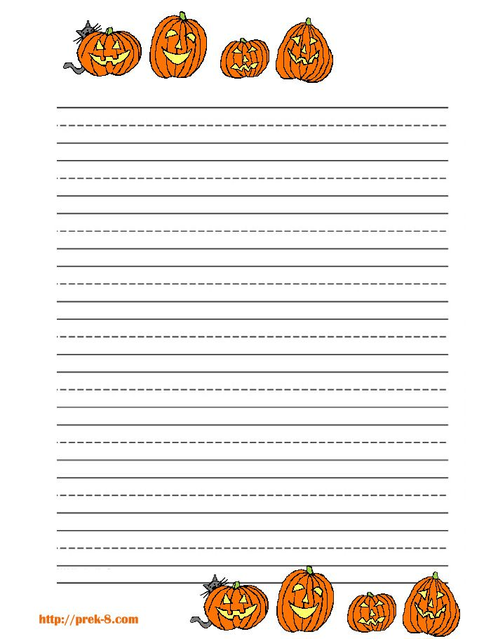 halloween pumpkins primary lined kids writing paper,free printable - free lined handwriting paper