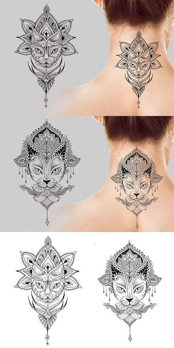 Photo of Gato Mandala 2 diseños de tatuajes vectoriales. Gato #cattattoo