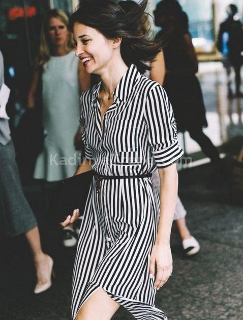4e582873161a8 siyah beyaz çizgili gömlek elbiseler in 2019 | Elbise modelleri ...