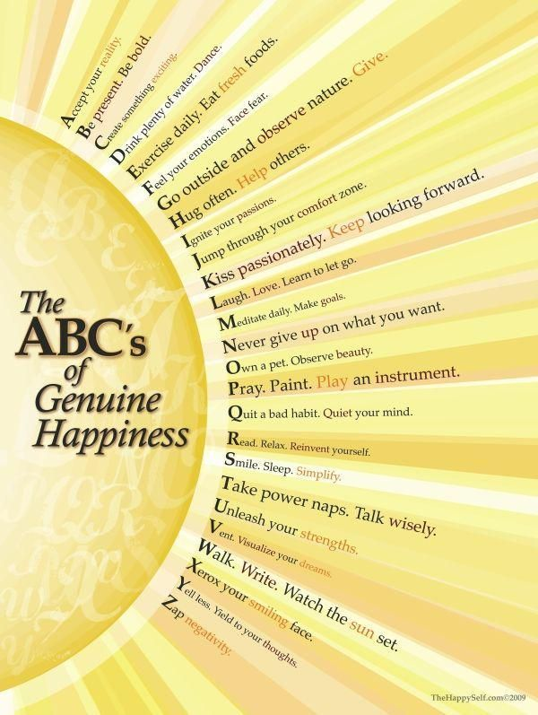 The ABC's of Genuine Happiness   #happiness    via @AgeproofLiving #ThinkBIGSundayWithMarsha