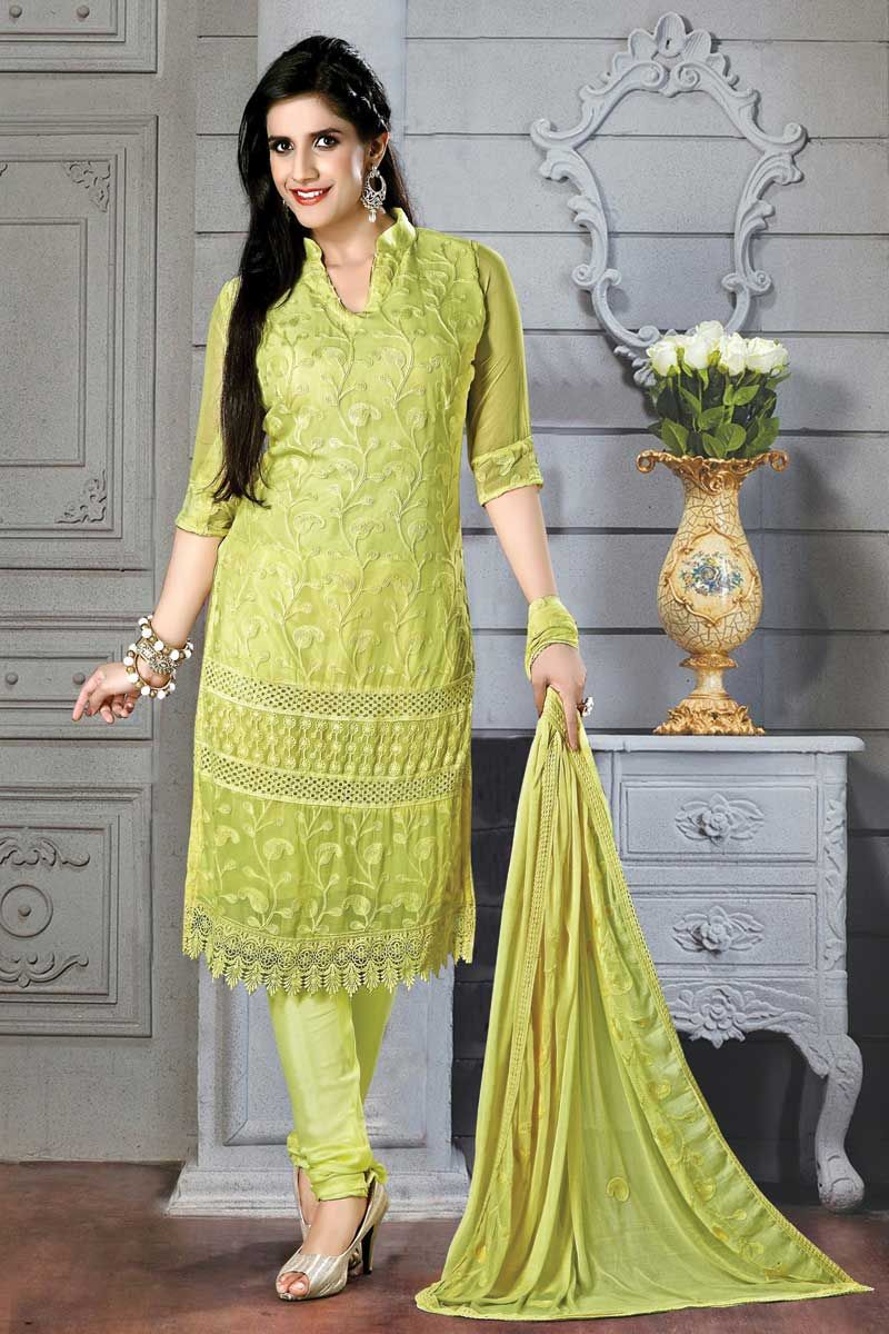 Light green Ladies Suits Online Price:- 2,045 Light green, Chiffon ...