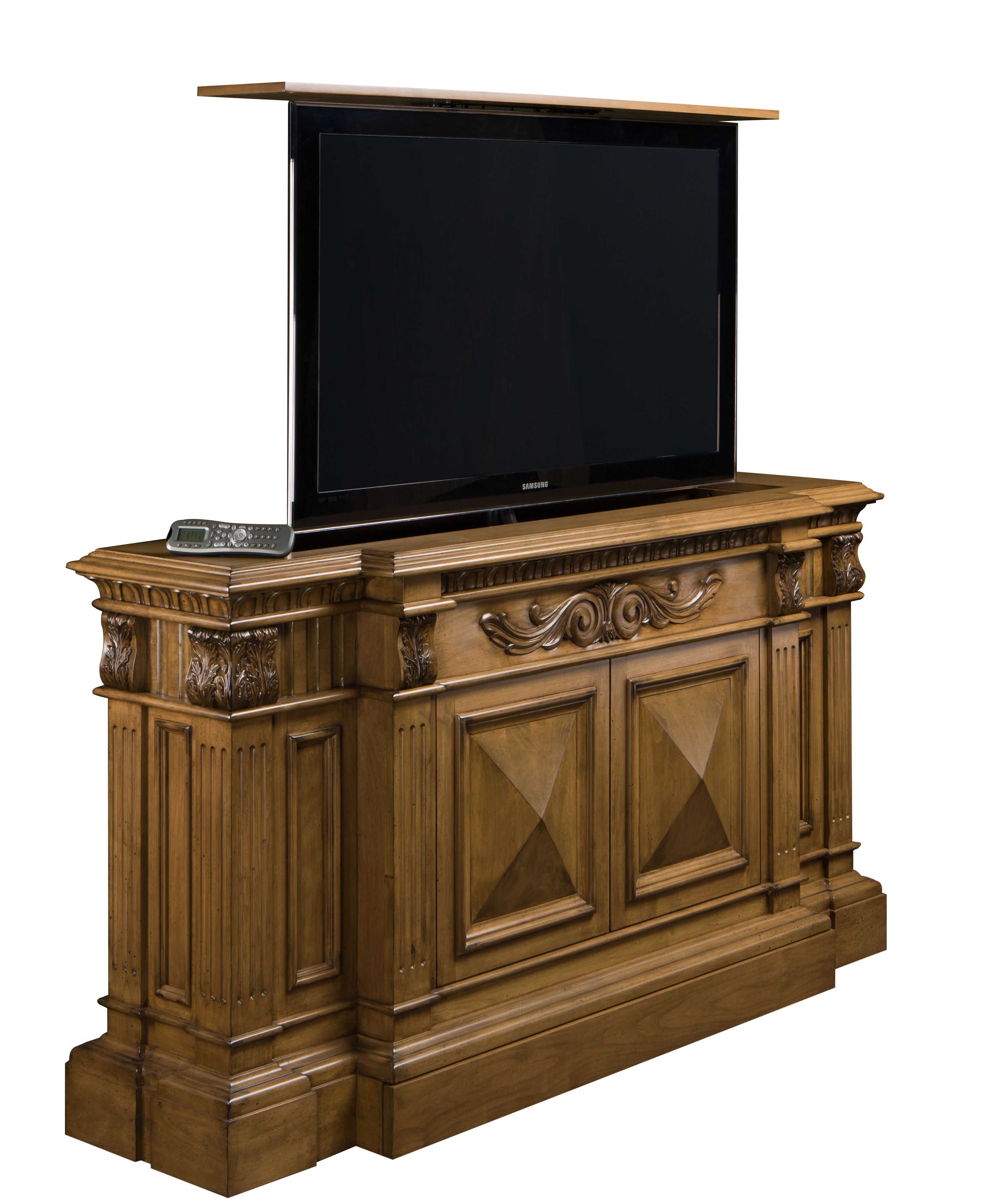 Belvedere hand carved TV Lift is Made in US. This