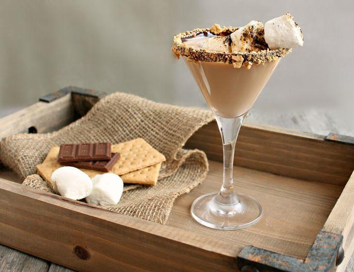 S'mores Martini Recipe Cocktails, Desserts, Beverages with marshmallow vodka, chocolate liqueur, creme de cacao, cream, chocolate, graham crackers, marshmallows