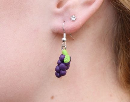 Kitsch Upcycled Unique Purple Grape Earrings from TackyPony