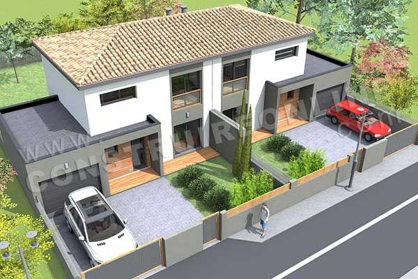 maison jumelé plan - Recherche Google résidence maisons Pinterest - plan de maison sur terrain en pente