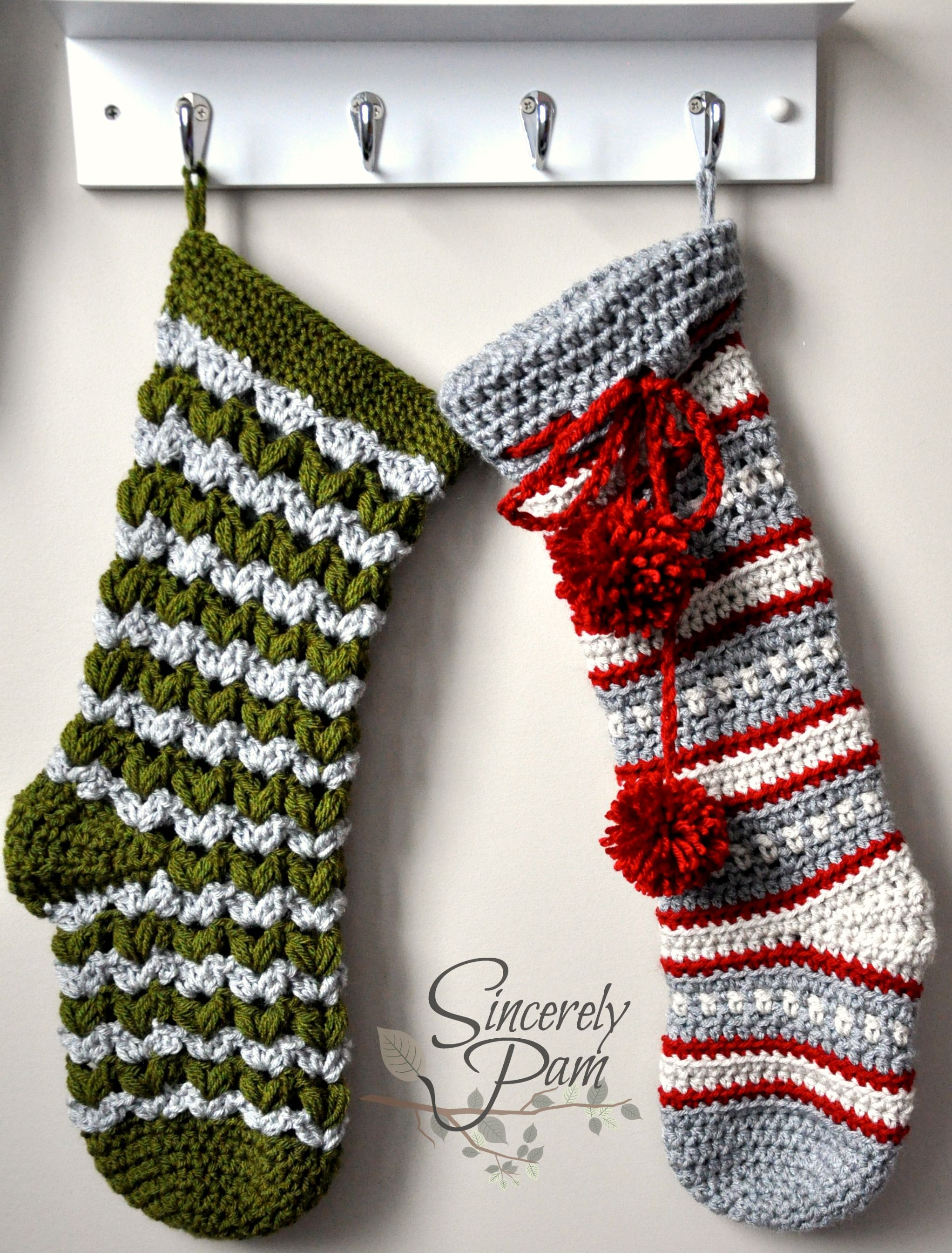 victoria and dylan christmas stocking crochet patterns by sincerelypam crochet christmas stockings crochet - Crochet Christmas Stockings