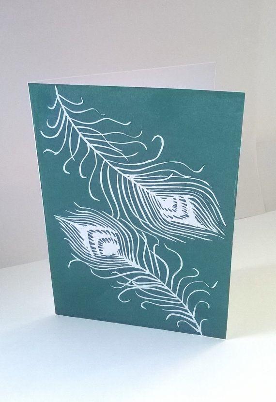 peacock feathers handmade uk greeting cards linocut print
