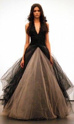 Vera Wang Black Wedding Dress Fall 2012 Flowers Lazaro Buttercup Tulle Ball Gown Sweetheart Neck Lace Silk Ribbon Be