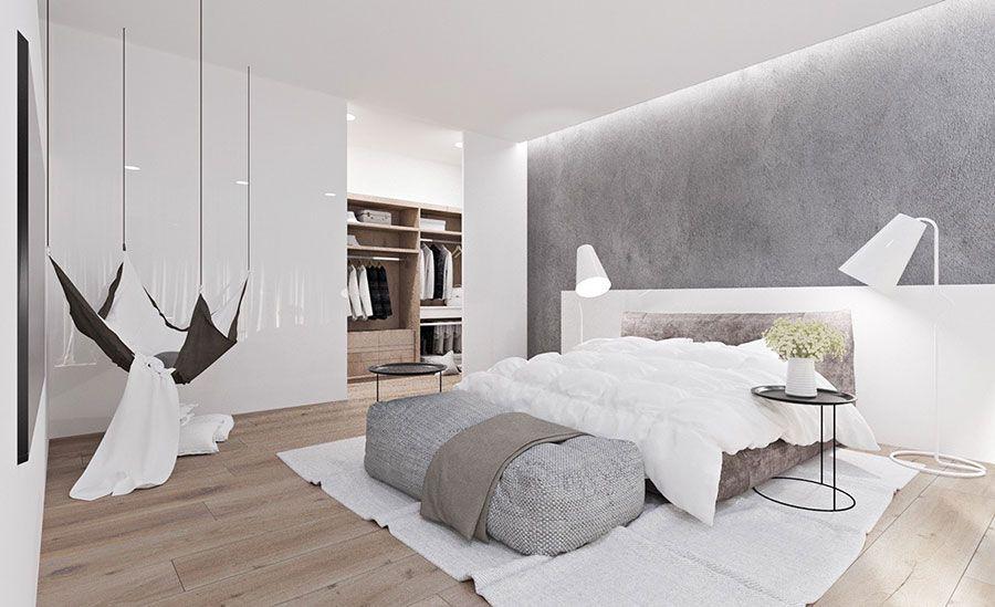 Camera Da Letto Bianca : Idee per arredare una camera da letto bianca e grigia moderna