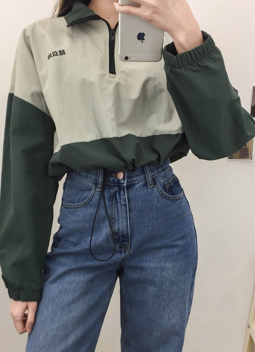 NEVERM!NDContrast Color Crop Anorak #90sstyle