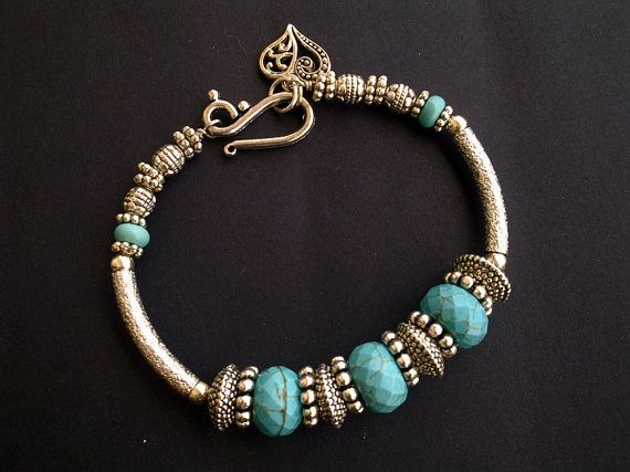 Blue Turquoise Silver Bangle Bracelet-Boho by LenaHarmanDesigns