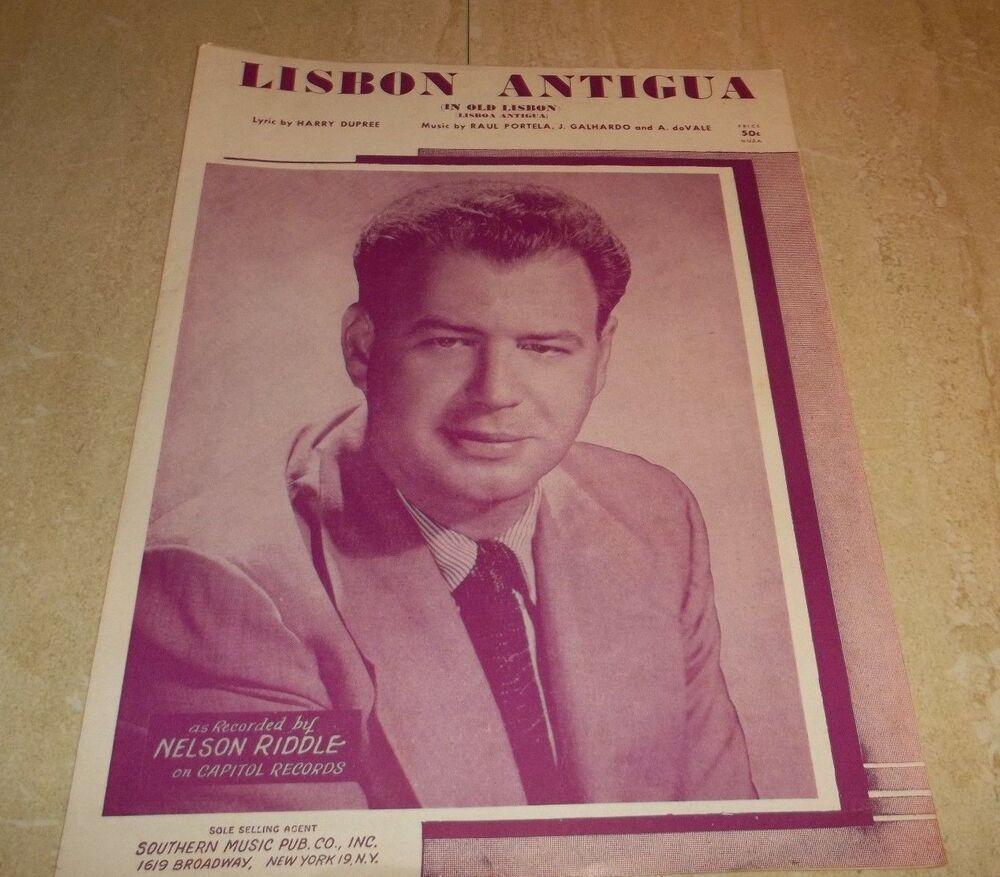 Vintage Sheet Music! Lisbon Antigua Nelson Riddle 1954