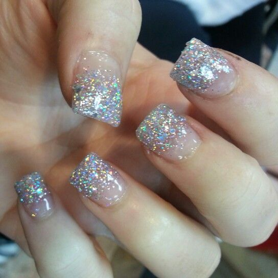 Pin By Sierra Amber On Nails Homecoming Nails Prom Nails Silver Ombre Nails Glitter