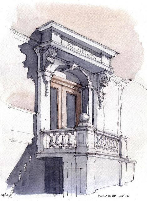 What A Balcony Watercolor Architecture Architecture Sketch