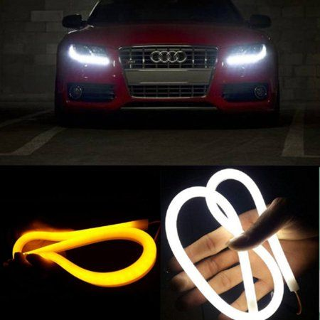 AGPtek 2Pcs 12V White + Amber Tube Switchback Headlight LED Strip DRL Daytime Light For Audi-Style - 60 CM - Walmart.com