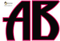 Alfabeto negro con orilla fucsia.