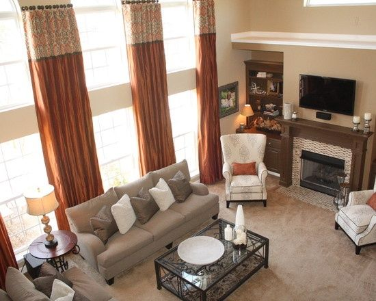 Twostory Living Room Designs  Two Story Window Design  2 Story Glamorous Living Room Window Design Ideas Inspiration Design